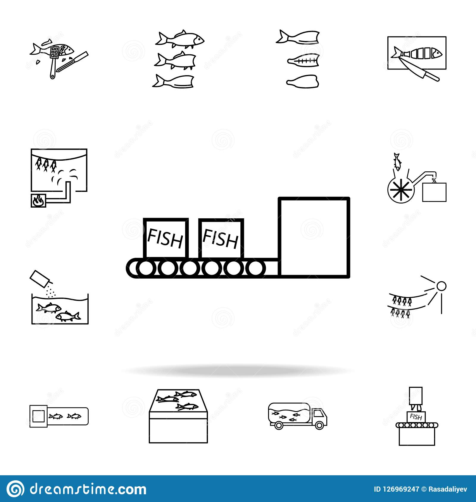 hight resolution of fish boxes on conveyor belt icon fish production icons universal set for web and mobile