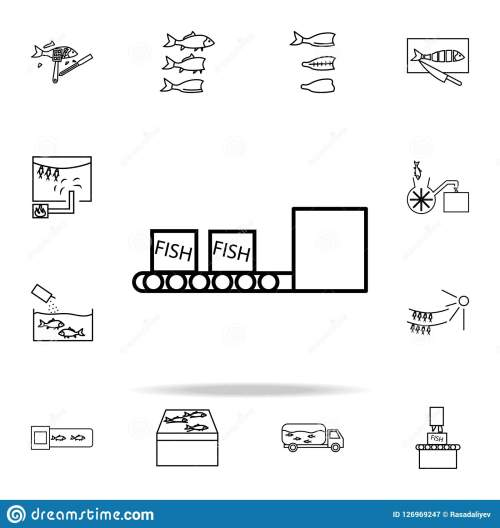 small resolution of fish boxes on conveyor belt icon fish production icons universal set for web and mobile