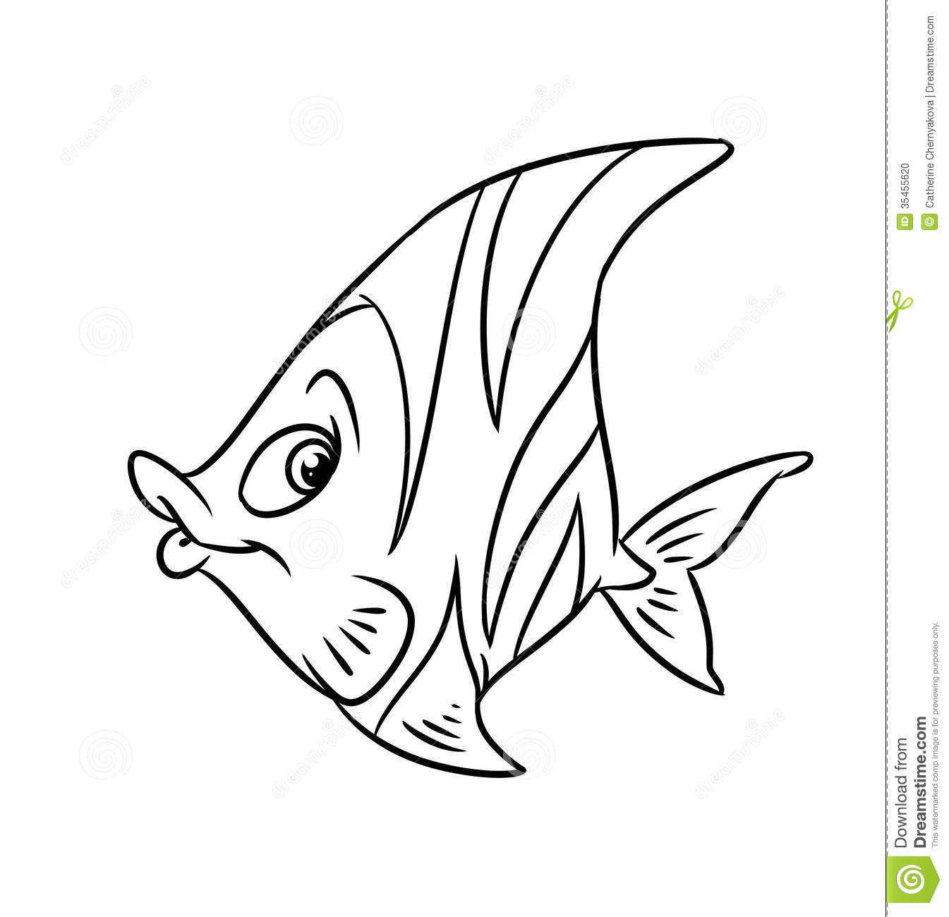 Fish Butterfly Coloring Pages Stock Illustration