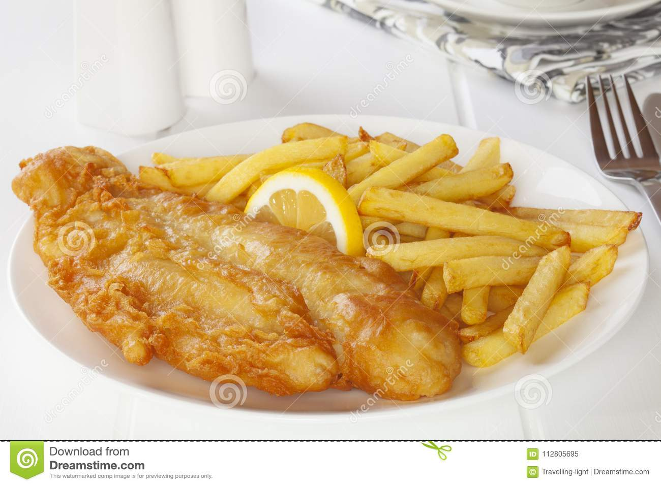 Fish And Chips On A Light Background Stock Image