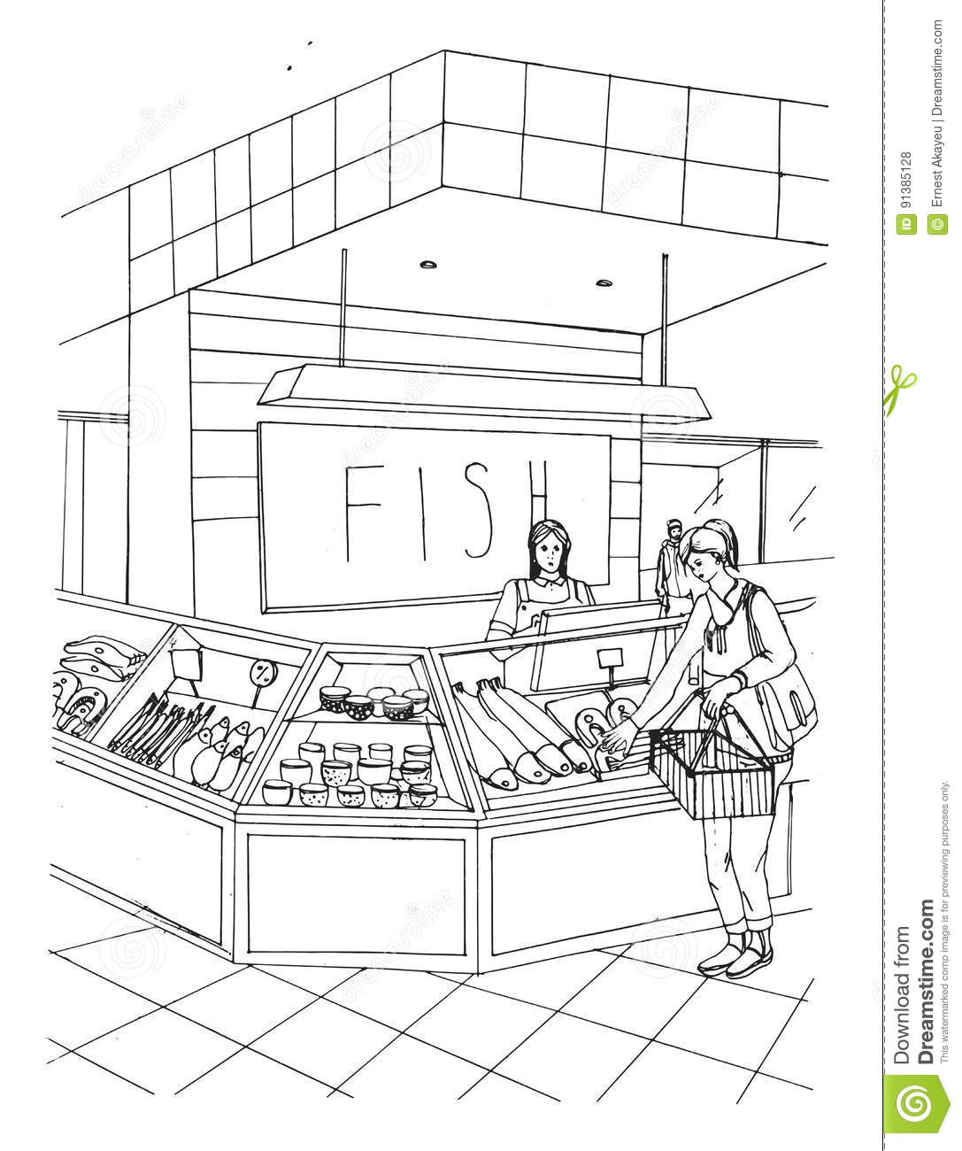 Fish Department Hand Drawn Colorful Illustration. Store