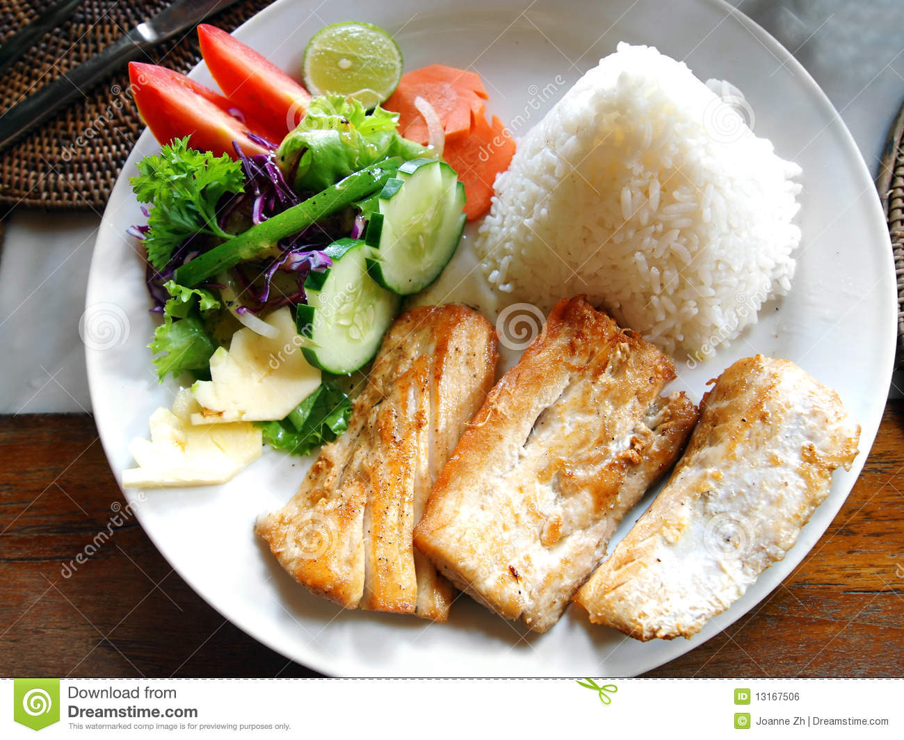 Fish Dish With Vegetable Side Salad Stock Photo  Image of