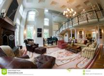 Fish Eye View Large Luxury Living Room Stock