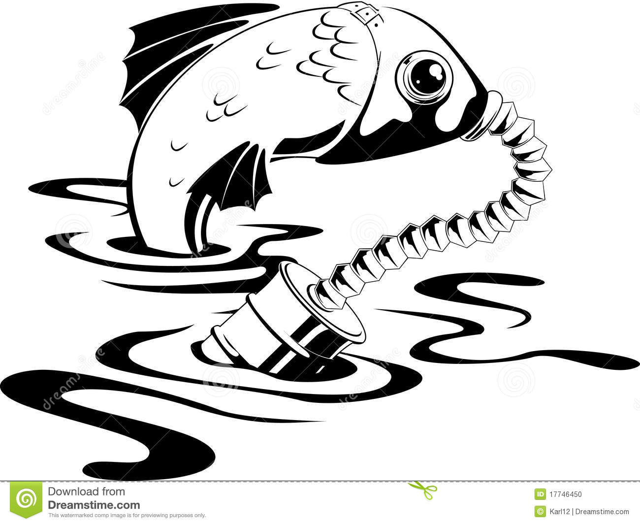 Fish In Gas Mask Stock Vector Illustration Of Fish