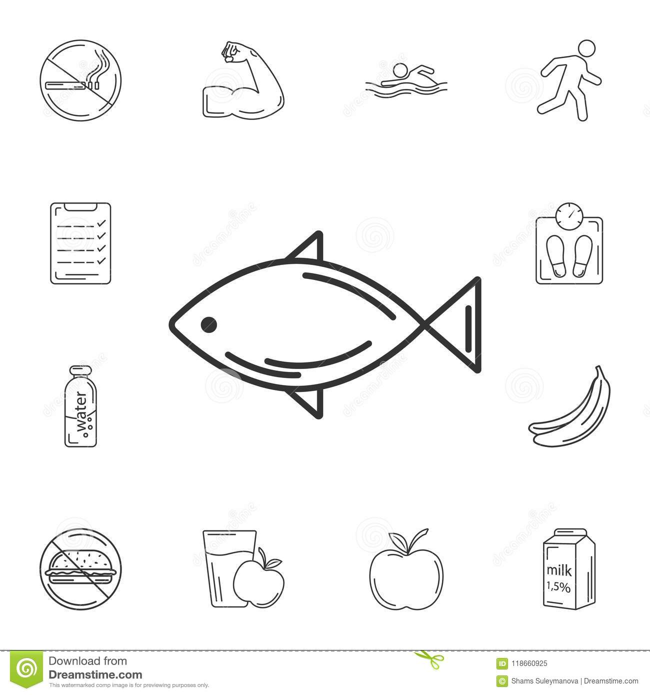 hight resolution of fish icon simple element illustration fish symbol design from gym and health collection set