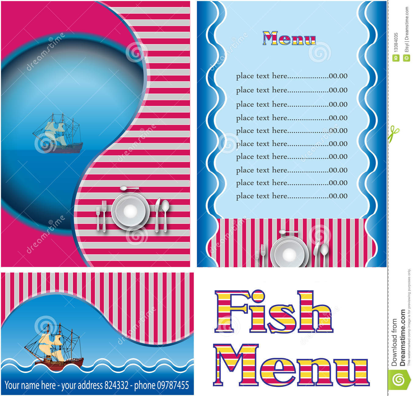 Fish Restaurant Menu Royalty Free Stock Photo Image