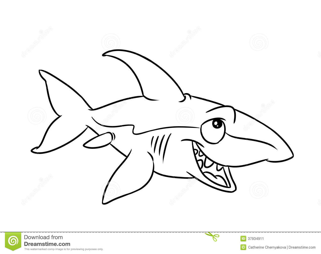 Fish Shark Illustration Coloring Pages Stock Illustration
