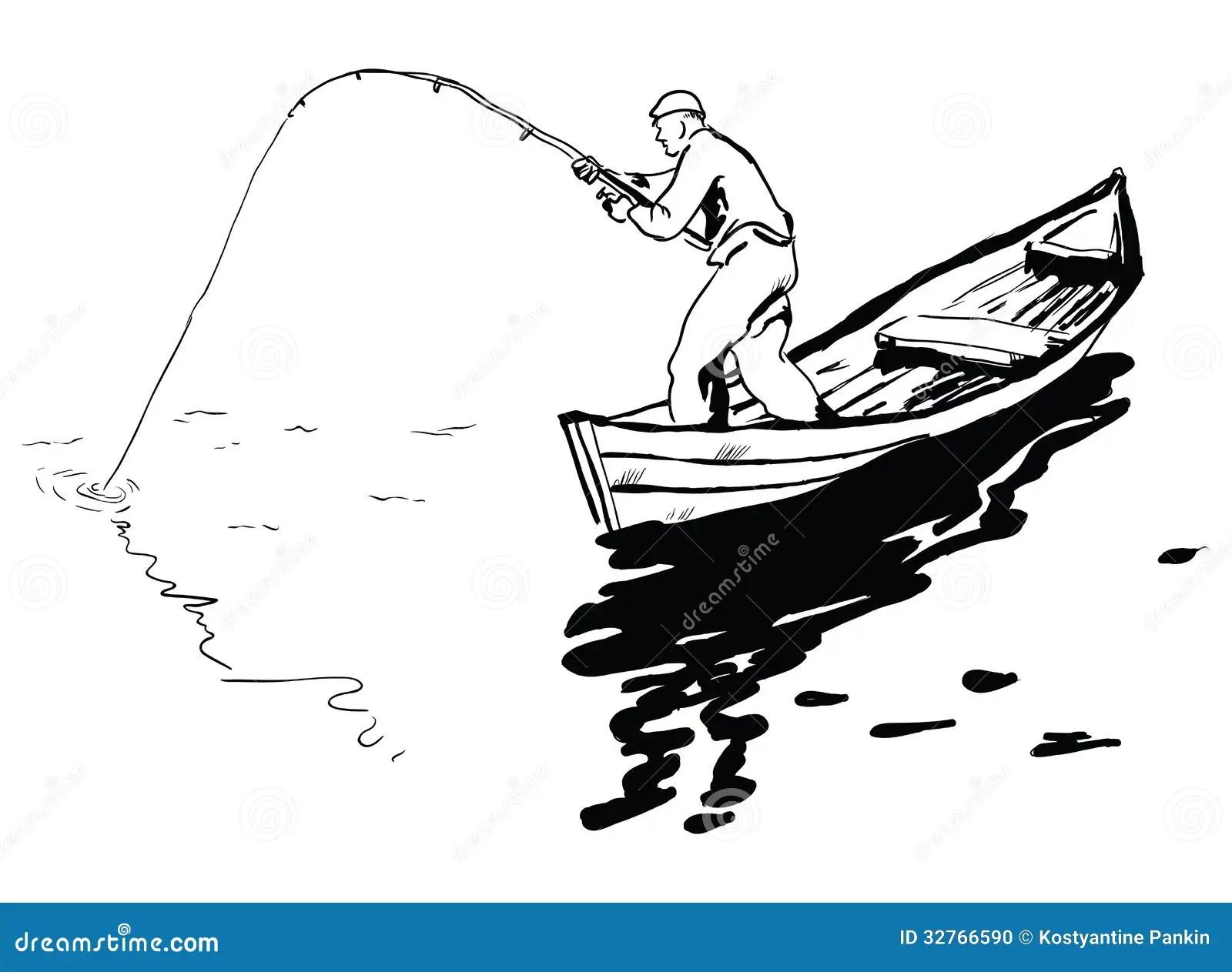 Fisherman In Boat Stock Vector Illustration Of Vector