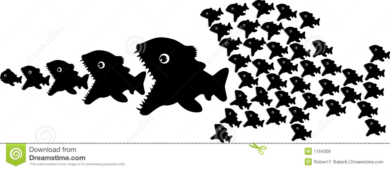 Fishes stock vector. Illustration of silhouette, chain