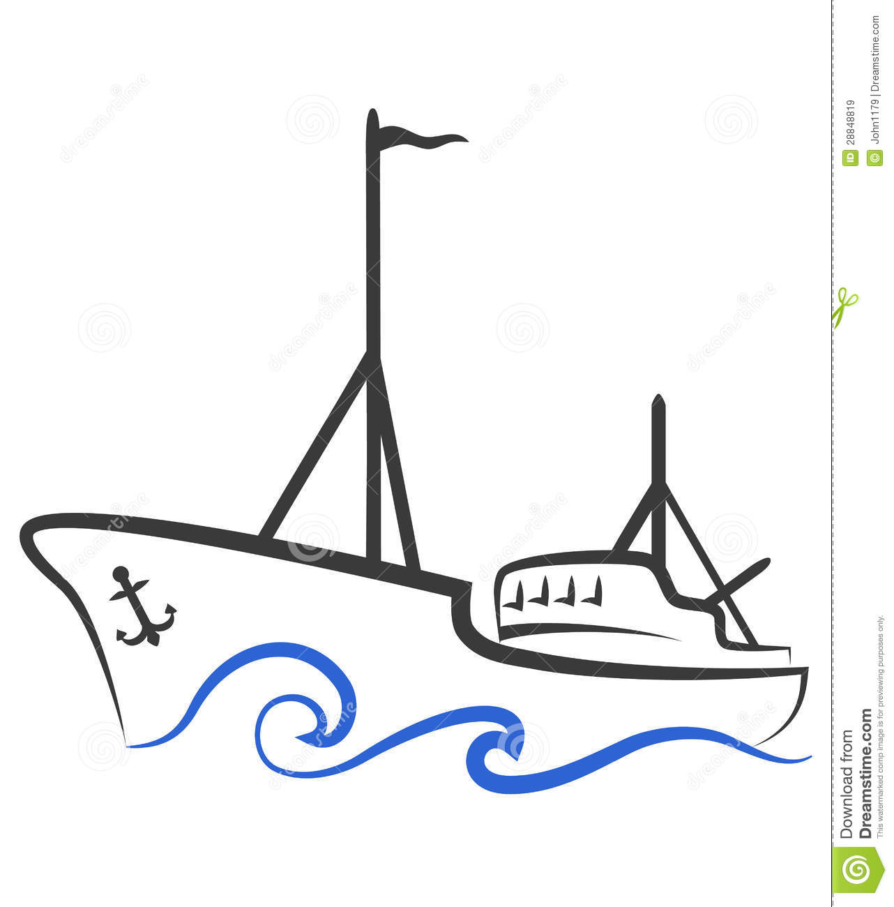 Fishing Boat Silhouette Stock Vector Illustration Of