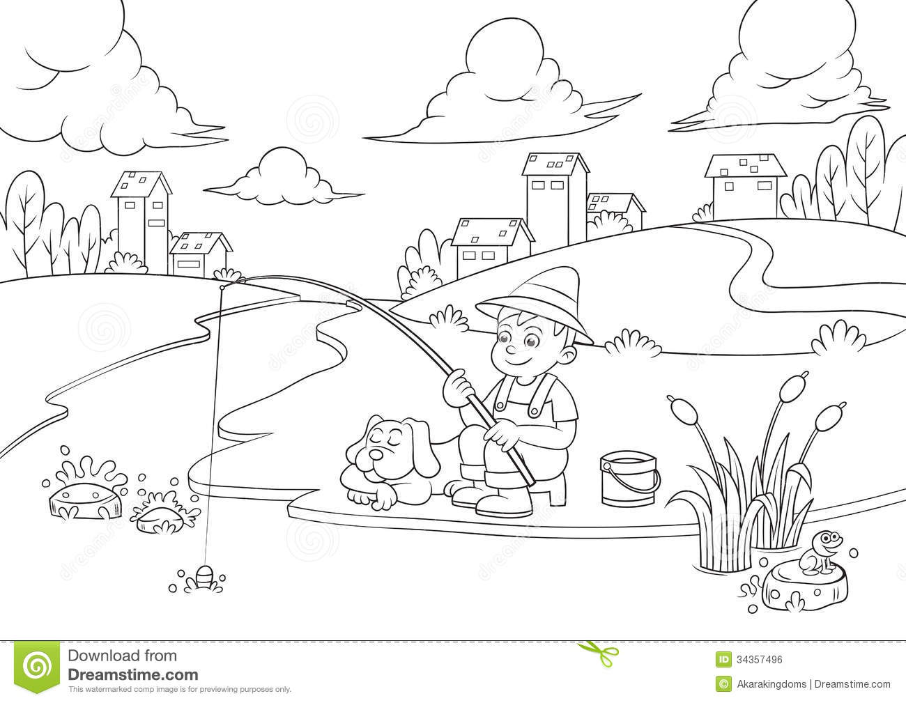 Fishing Boy For Coloring Book. Royalty Free Stock Image