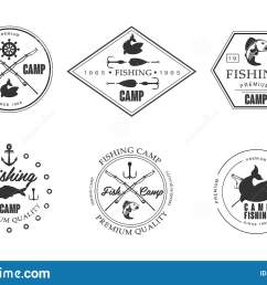 fishing camp logo wildlife travel adventure retro labels vector illustration isolated on a white background  [ 1600 x 1049 Pixel ]
