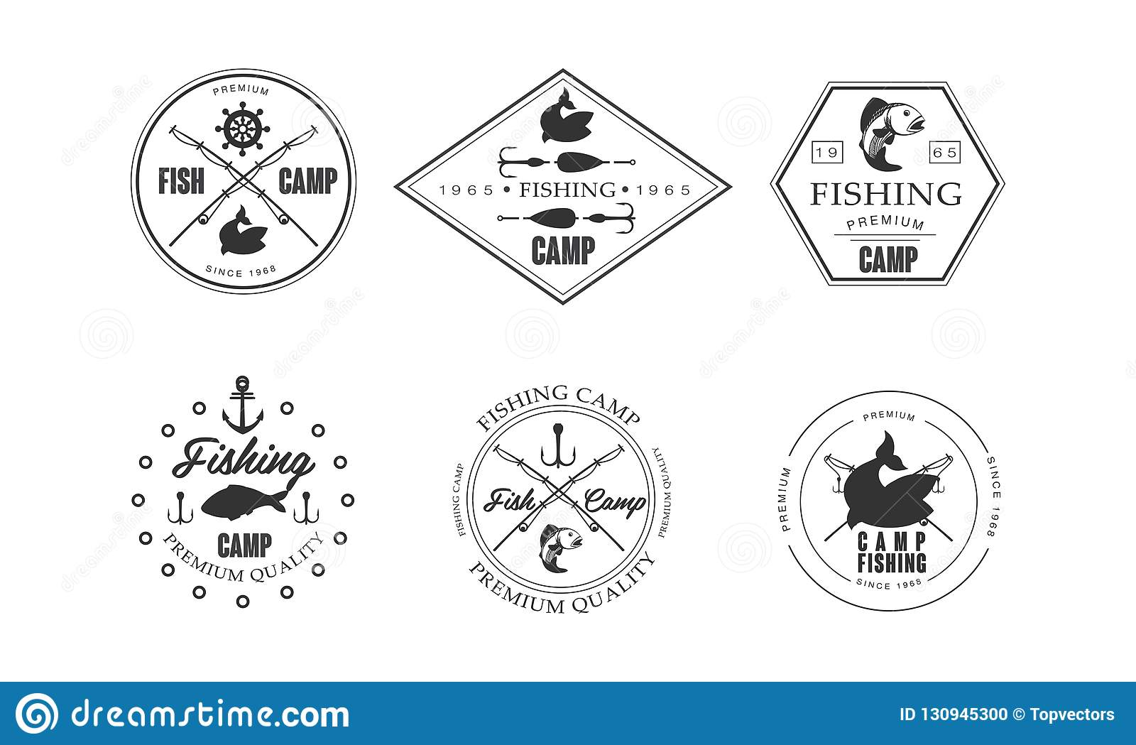 hight resolution of fishing camp logo wildlife travel adventure retro labels vector illustration isolated on a white background