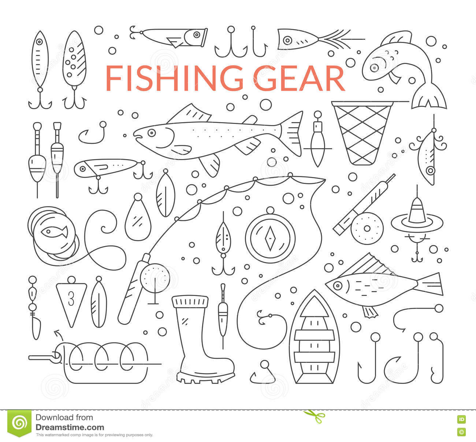 Fishing equipment stock vector. Image of aquatic, linear