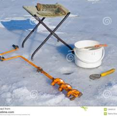 Ice Fishing Lawn Chair Small Red Leather On Equipment 4 Stock Image 12840121