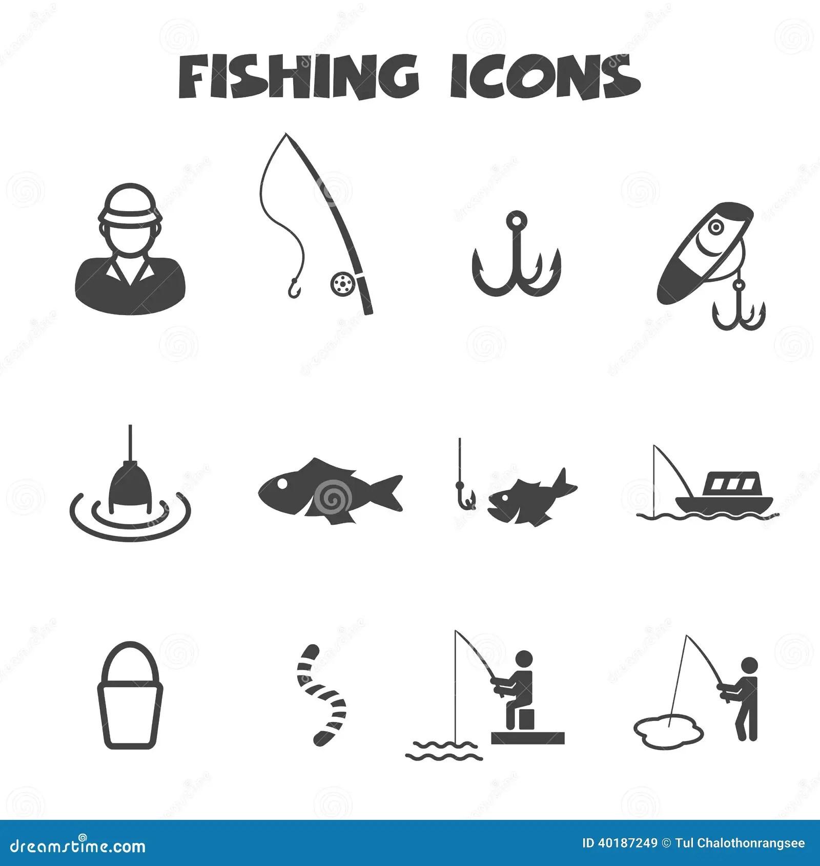 Fishing Icons Stock Vector Illustration Of Hobby Lake