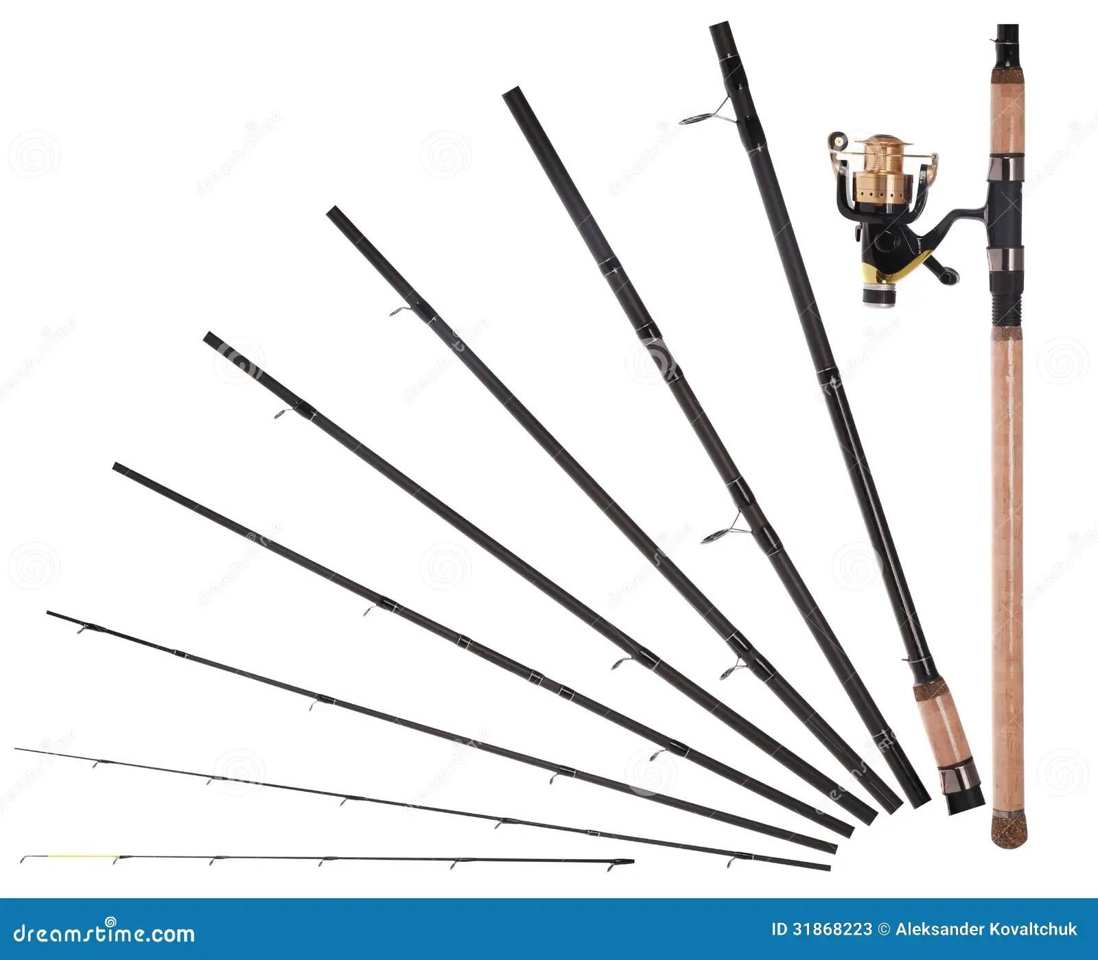 hight resolution of fishing rod reel broken into parts