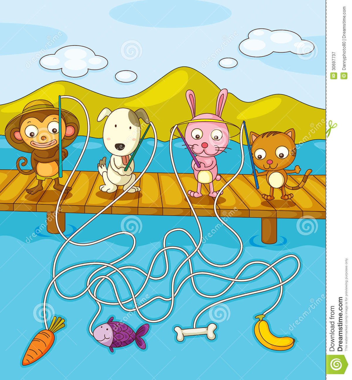 Fishing Worksheet Stock Vector Illustration Of Activity