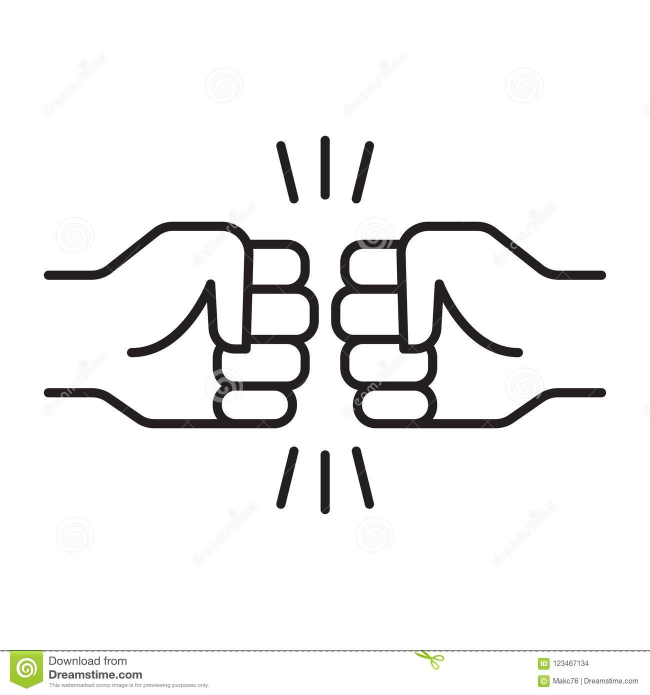 Fist Bump Friendship Sign Stock Vector