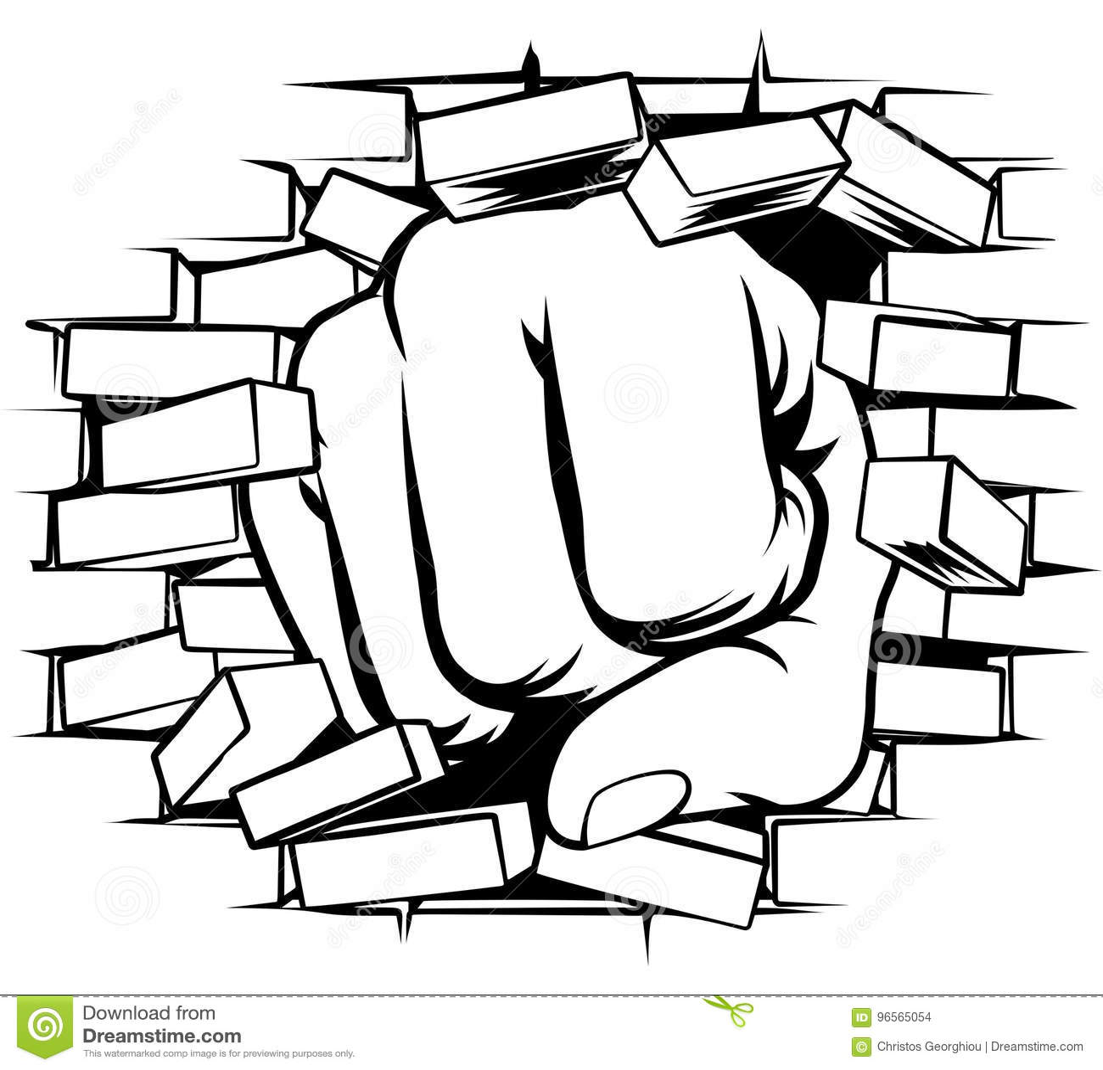 Fist Punching Through Brick Wall Stock Vector