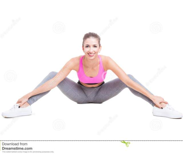 Fit Girl Sitting Down With Legs Open