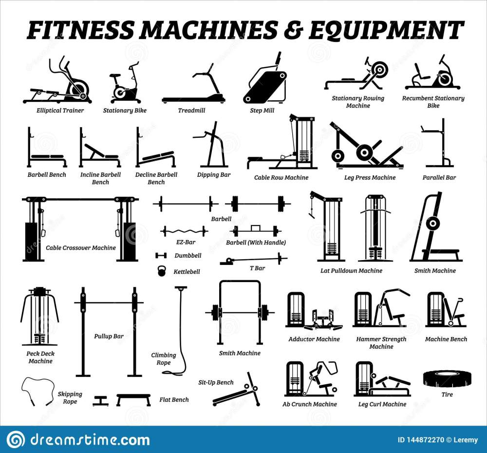 medium resolution of fitness cardio and muscle building machines equipments set at gym icons and pictogram