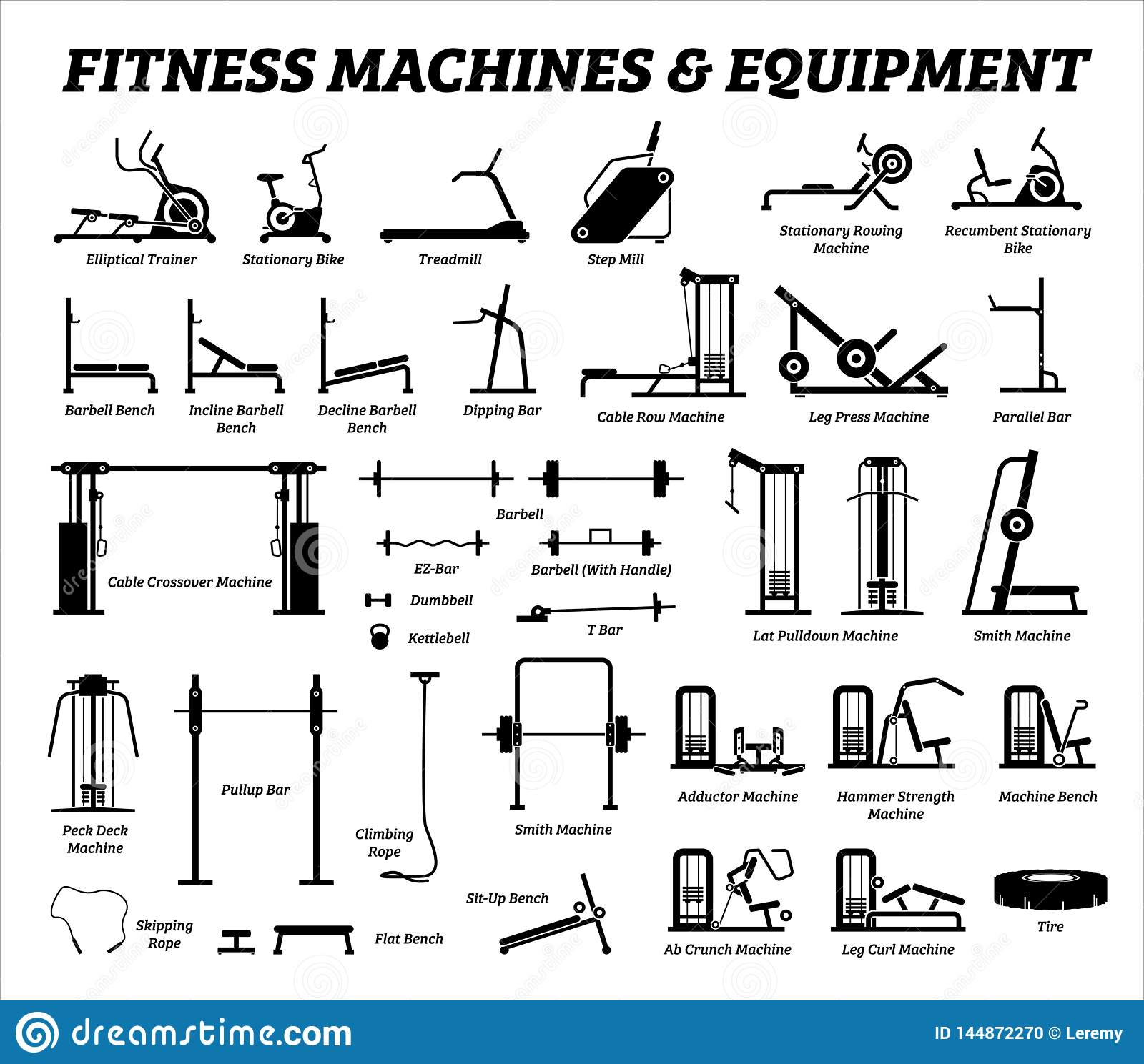 hight resolution of fitness cardio and muscle building machines equipments set at gym icons and pictogram