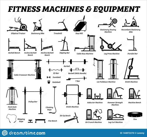 small resolution of fitness cardio and muscle building machines equipments set at gym icons and pictogram