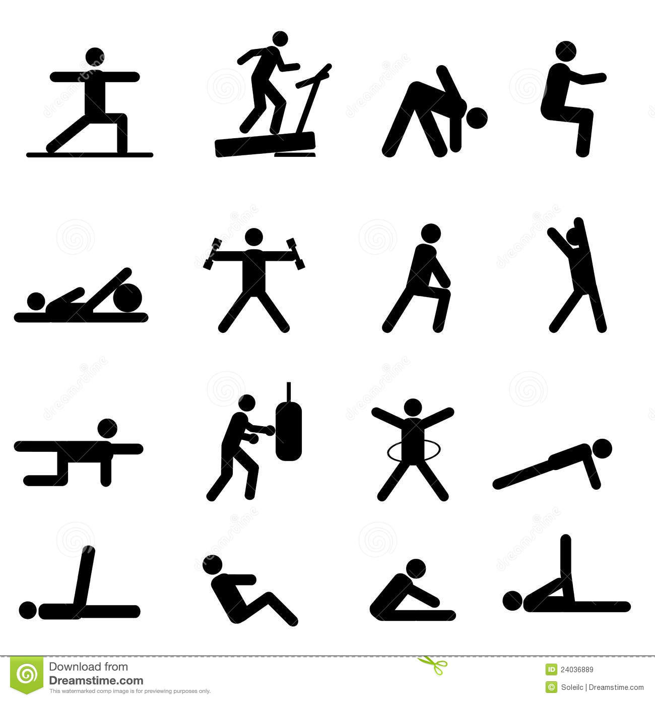 Fitness And Exercise Icons Stock Vector Illustration Of