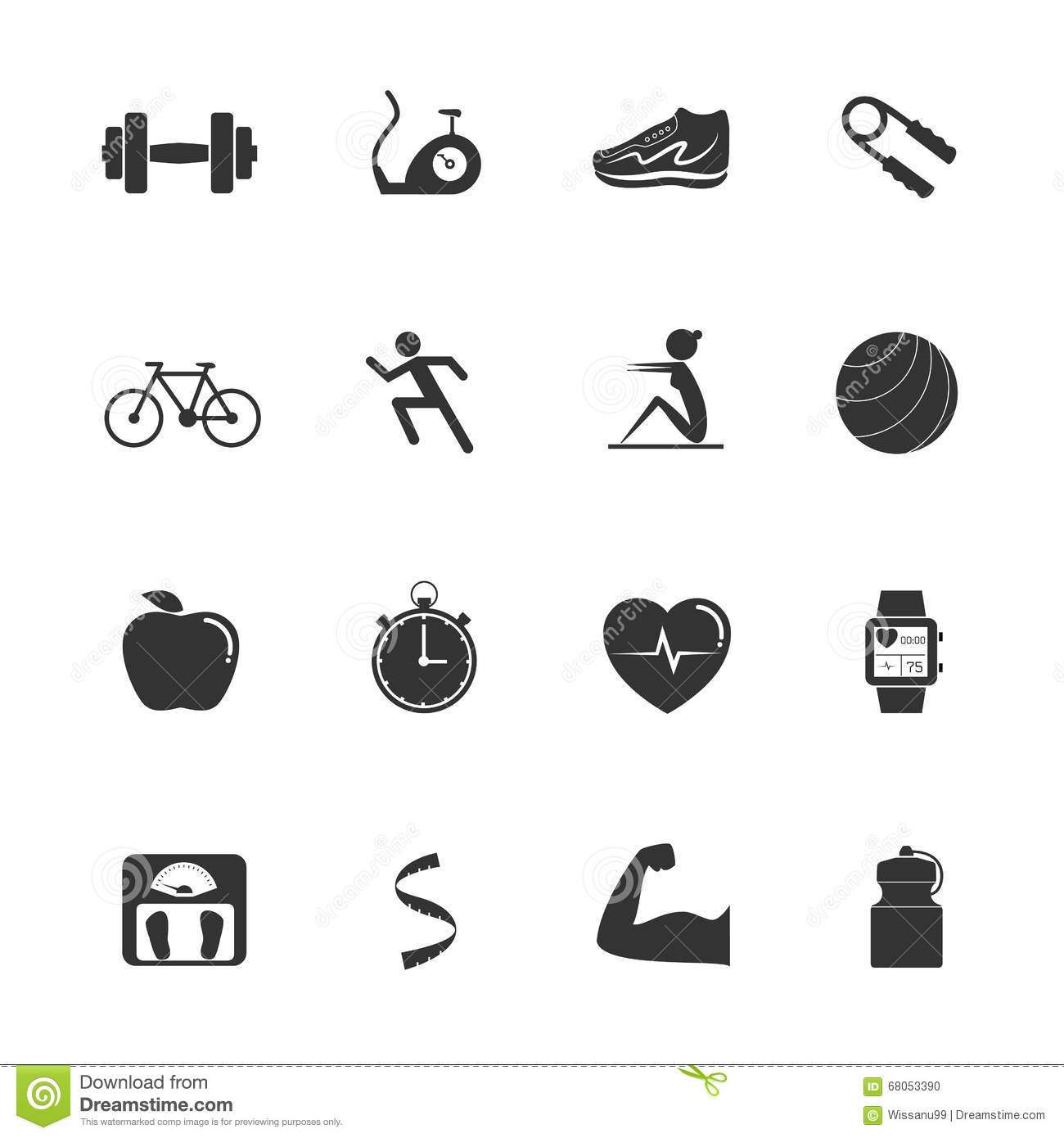 Fitness Exercise Icons Stock Vector Illustration Of Black
