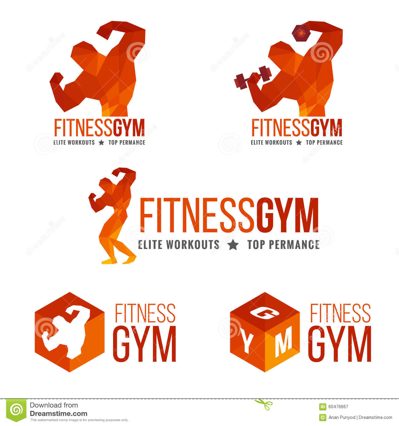 fitness gym logo men s muscle strength and weight lifting stock
