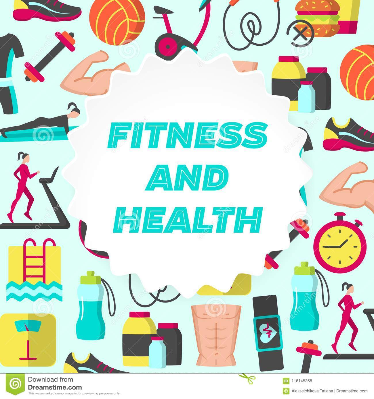 Fitness And Health Flat Poster Stock Vector
