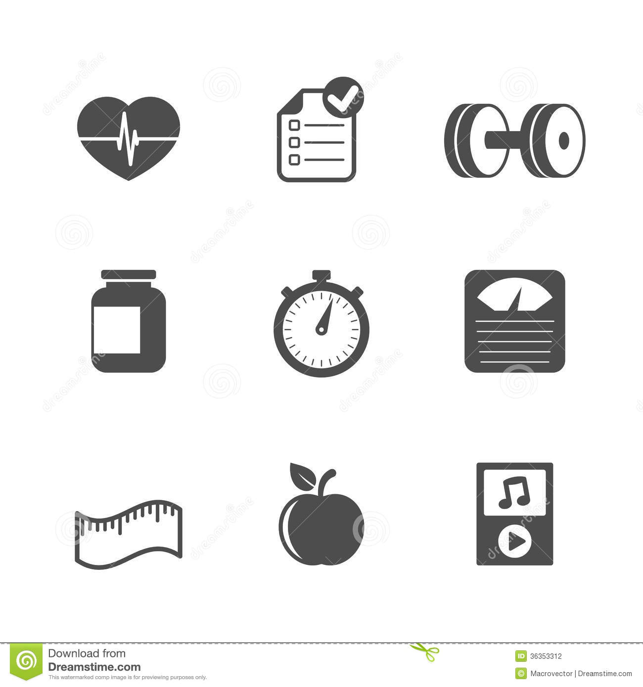 Fitness Icons Set Contrast Flat Stock Photography