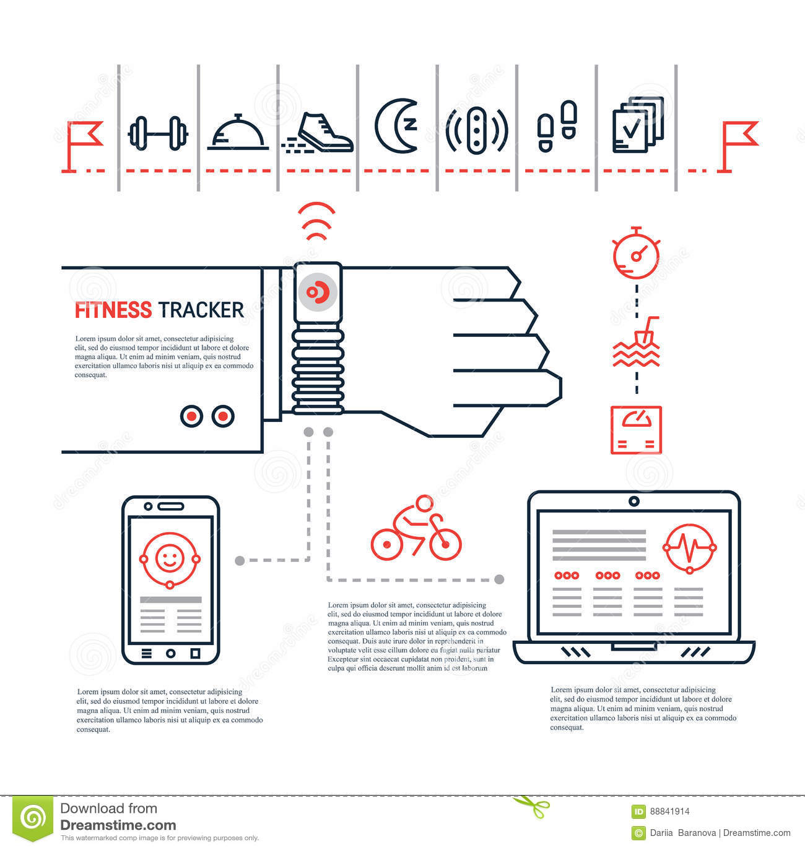 Fitness Tracker Infographic Stock Vector