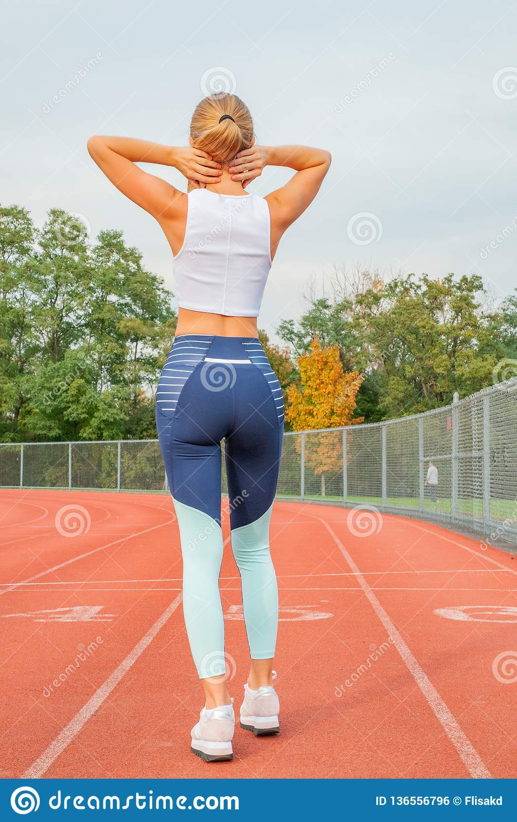 Fitness Woman Has Neck Pain And Shoulders After Running ...