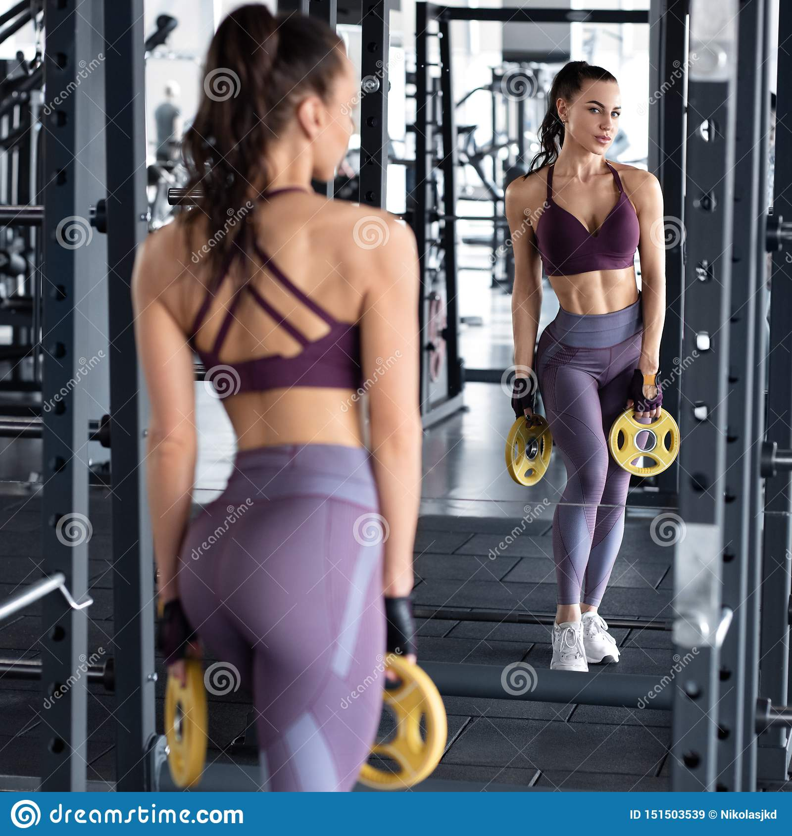 Fitness Woman Workout In Gym Slim Waist Athletic Girl Doing Exercise Beautiful In Leggings Stock Image Image Of Girl Leggings 151503539
