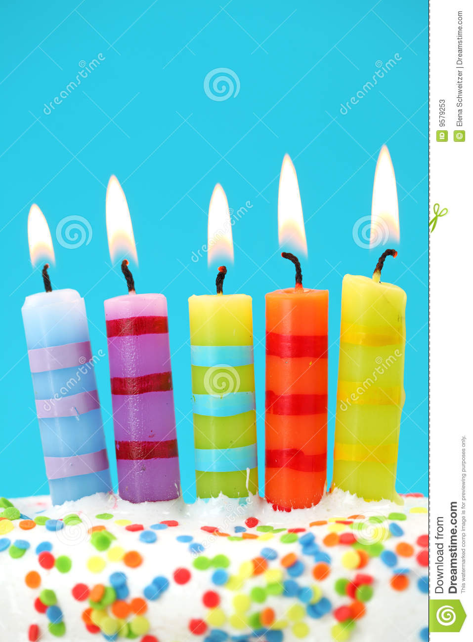 Five Birthday Candles Stock Photos Image 9579253