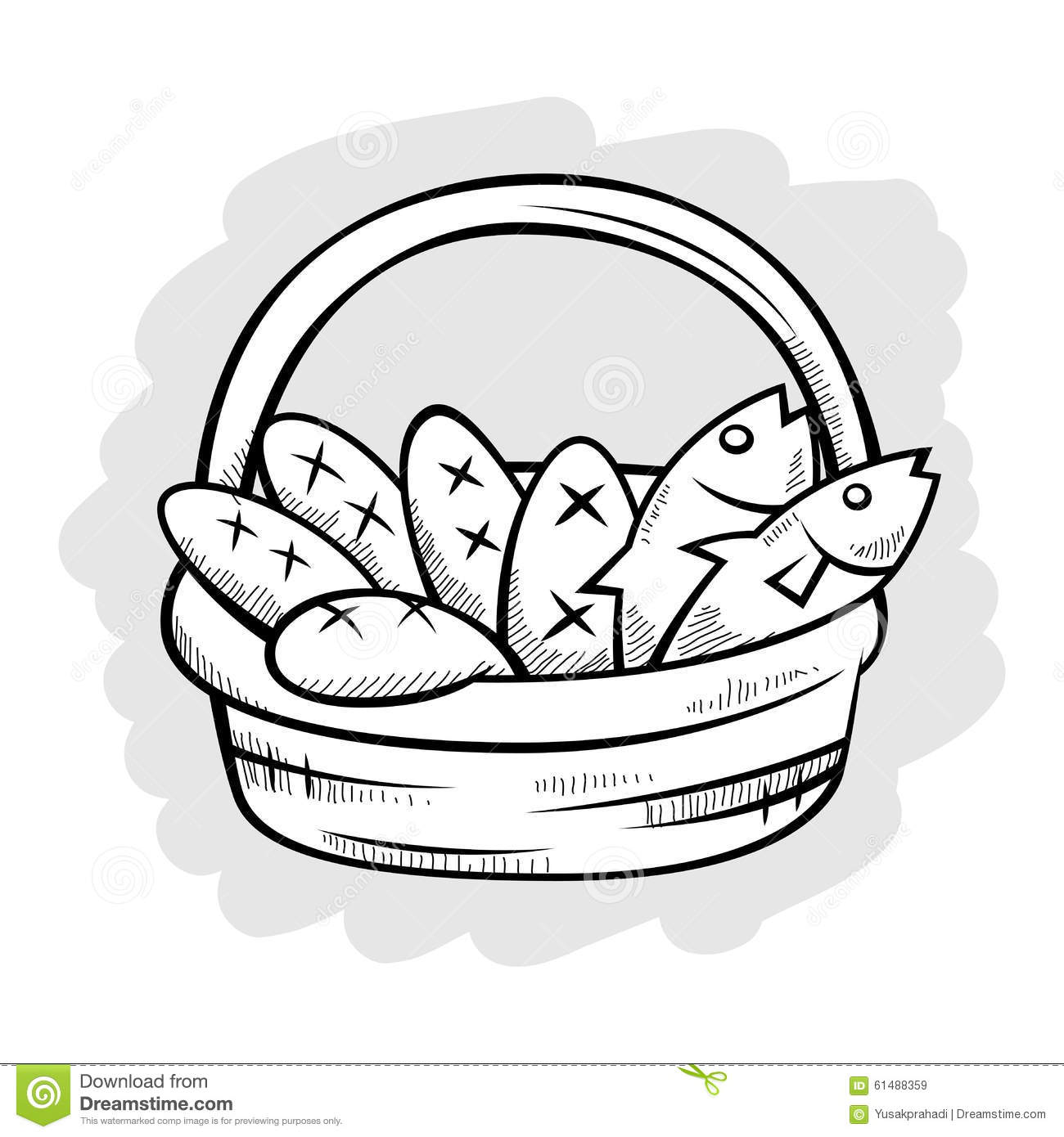 Five Bread And Two Fish In A Basket Line Art Stock Vector