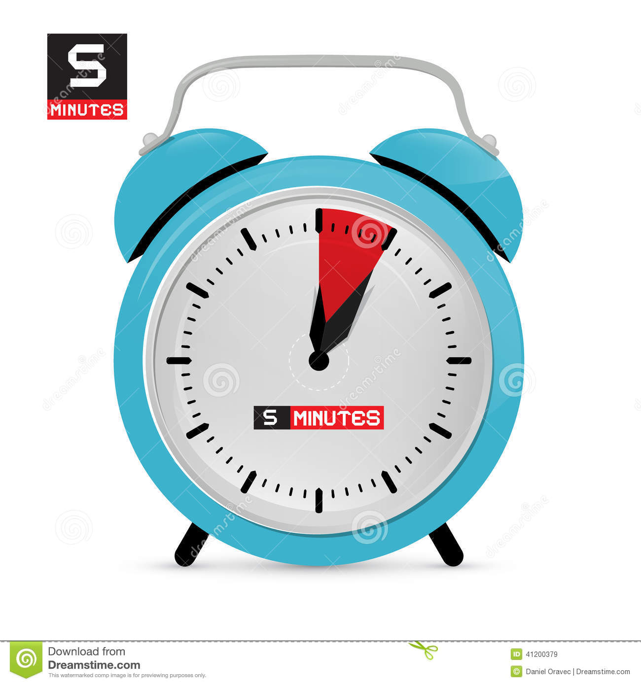 Five 5 Minutes Alarm Clock Stock Vector Illustration Of