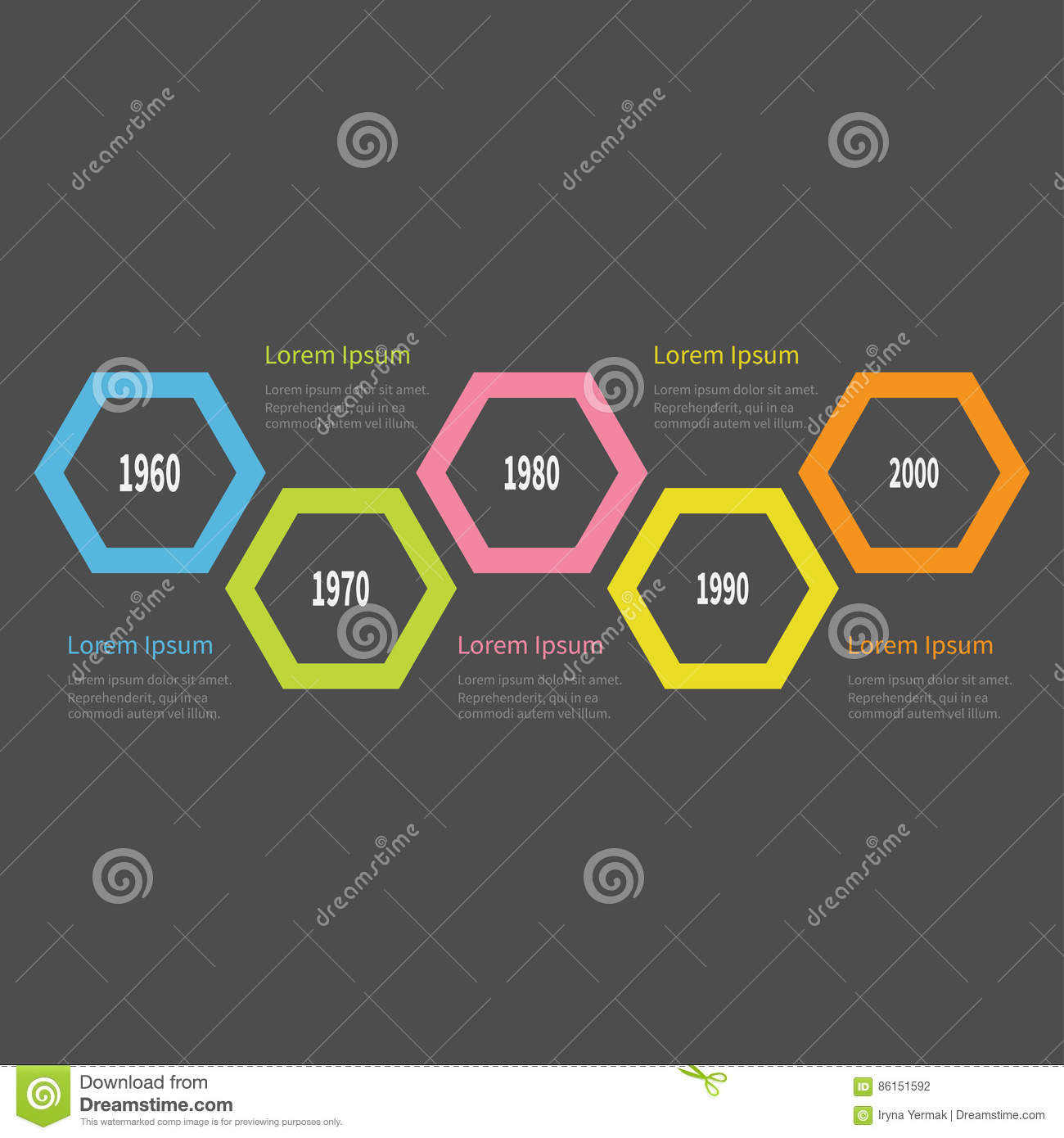 Five Step Timeline Infographic Colorful Big Polygon