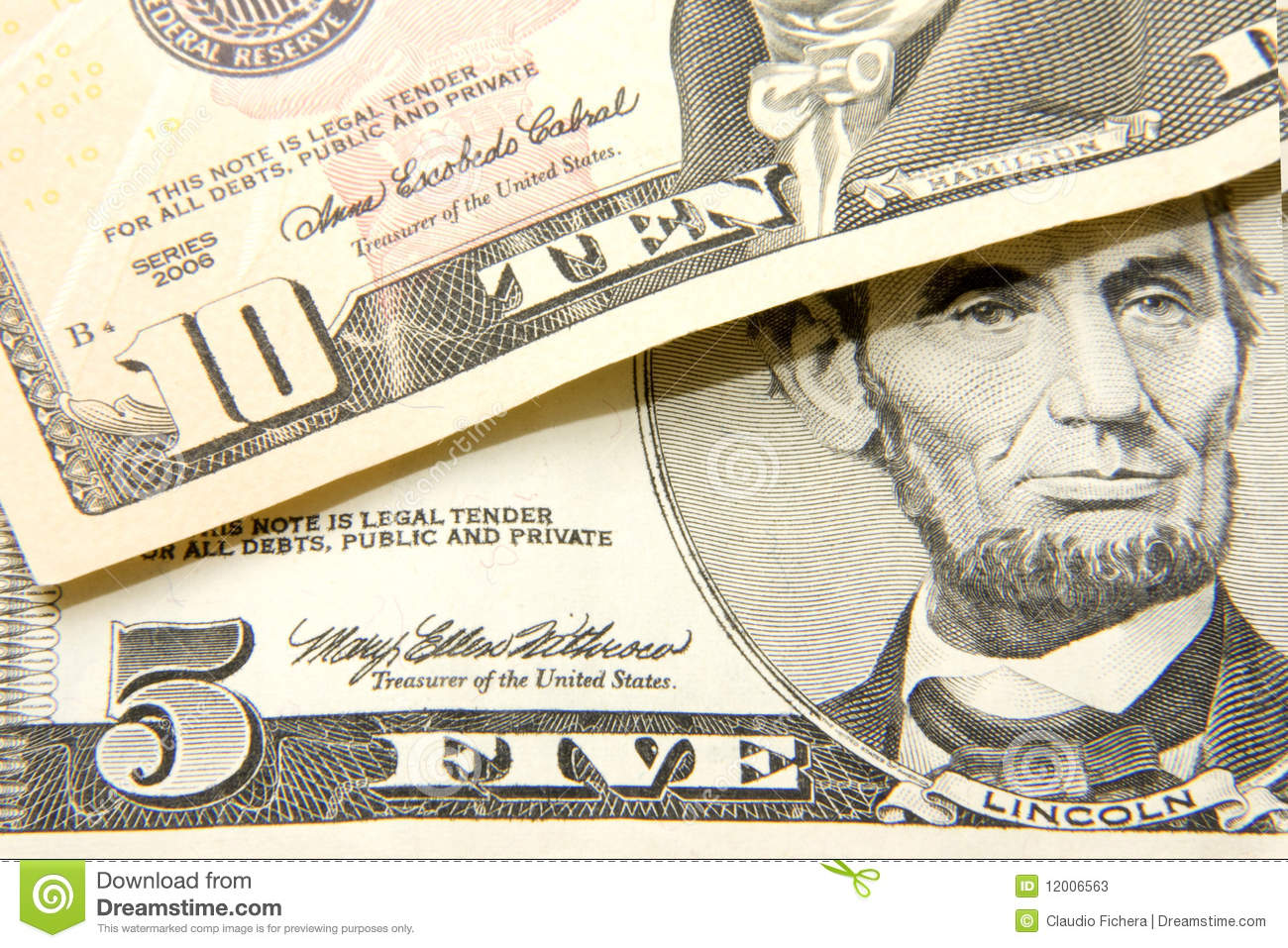 Five And Ten Dollars Stock Photos