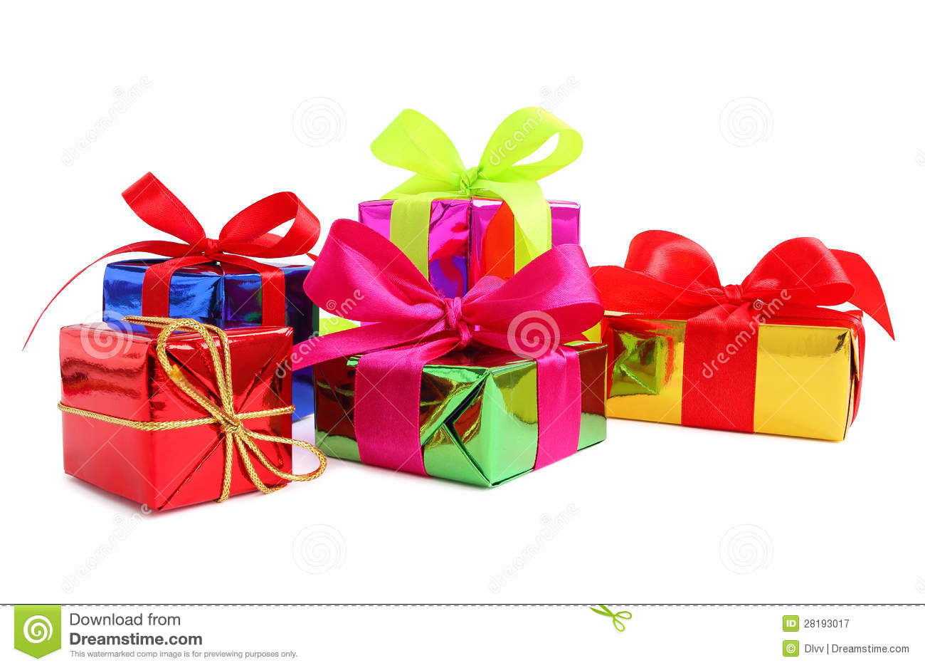 Five Various Glossy Gift Wrapped Presents Royalty Free