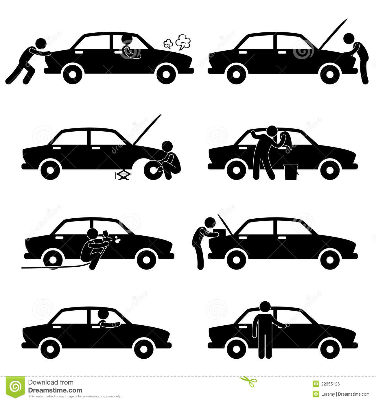Fix Wash Repair Check Car Tyre Pictogram Stock Vector