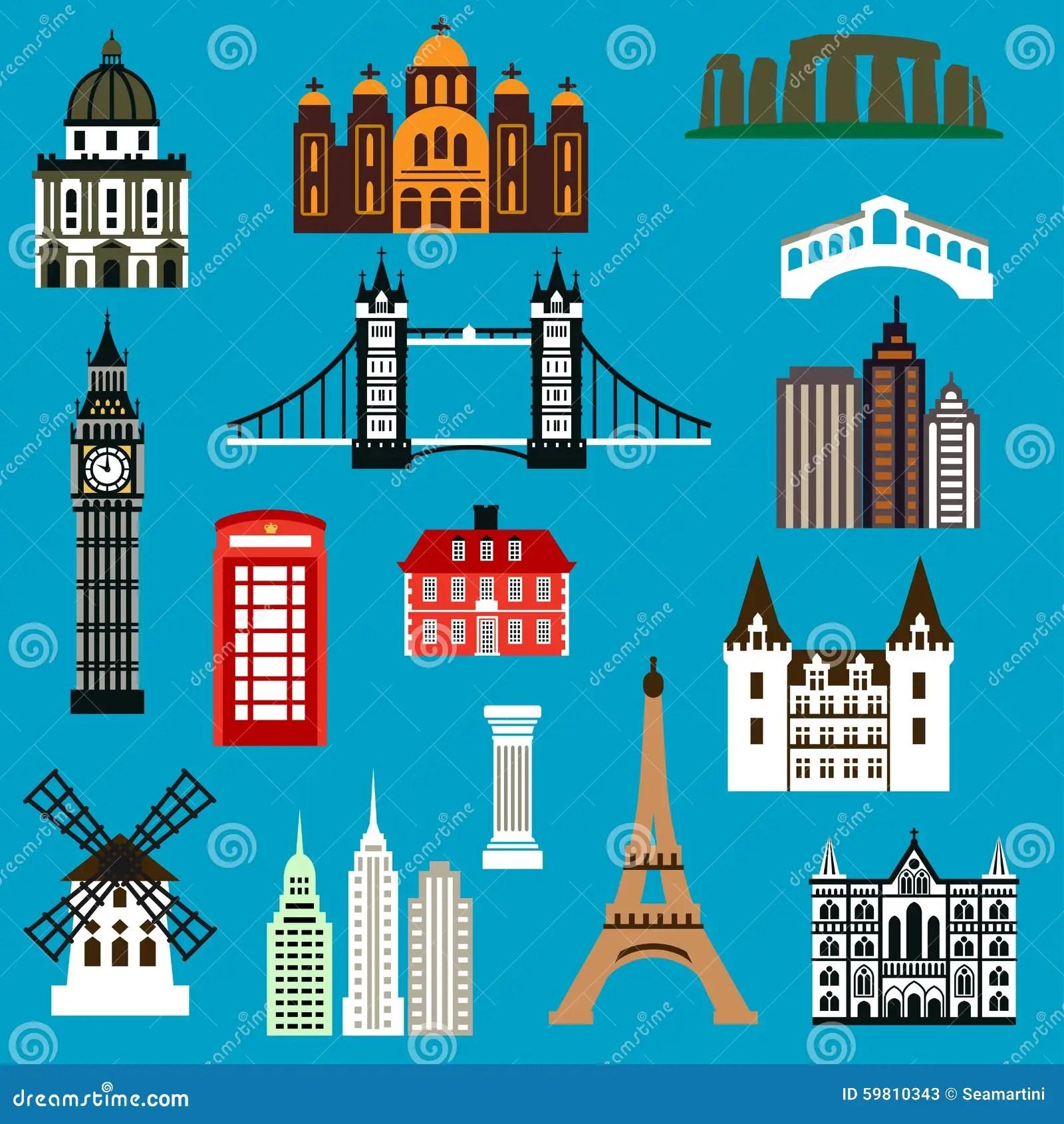 Flache Ikonen Des Weltreise Marksteins Vektor Abbildung