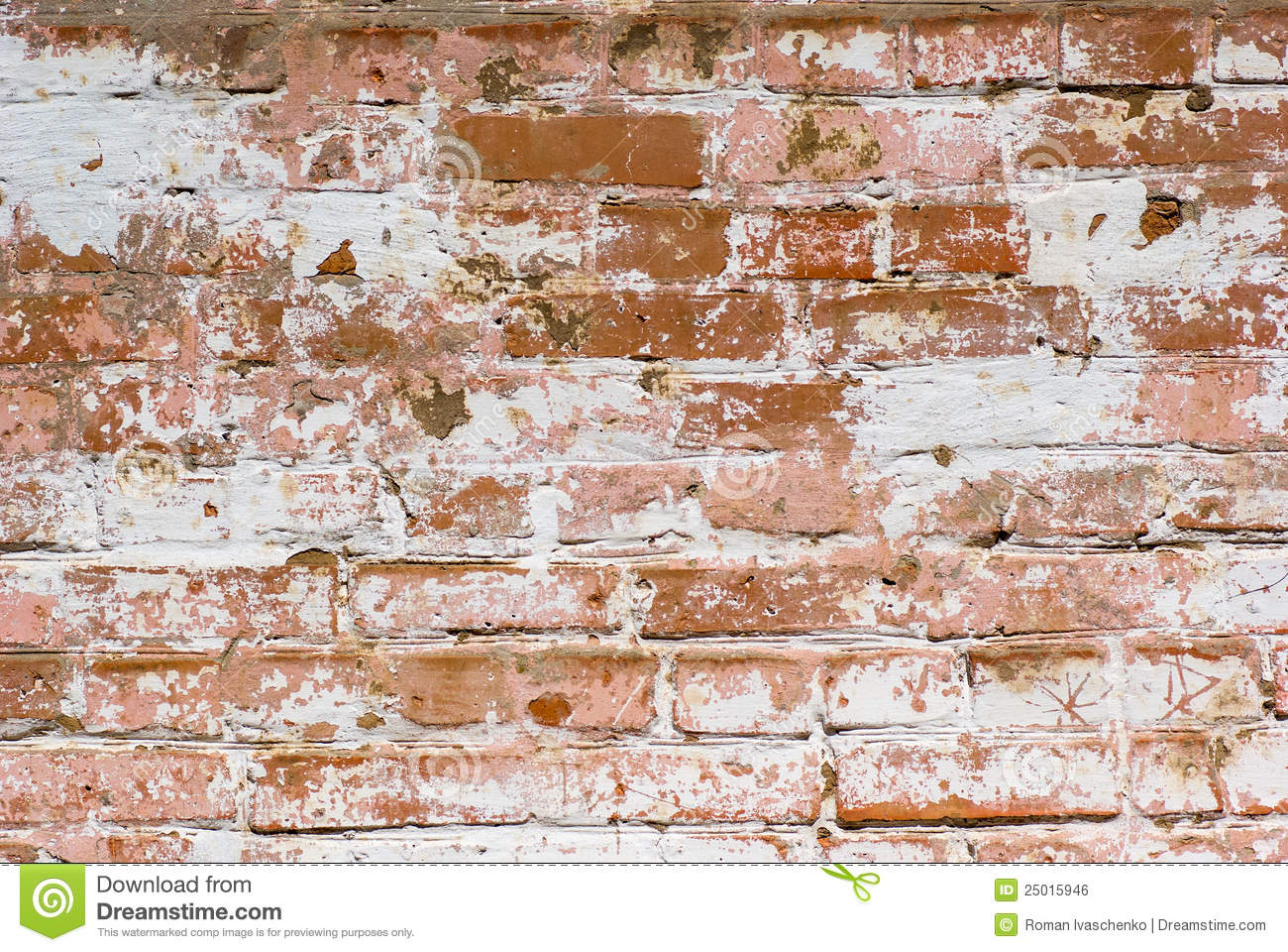 3d Brick Mural Wallpaper Flaked Off Whitewashed Brick Wall Stock Photo Image