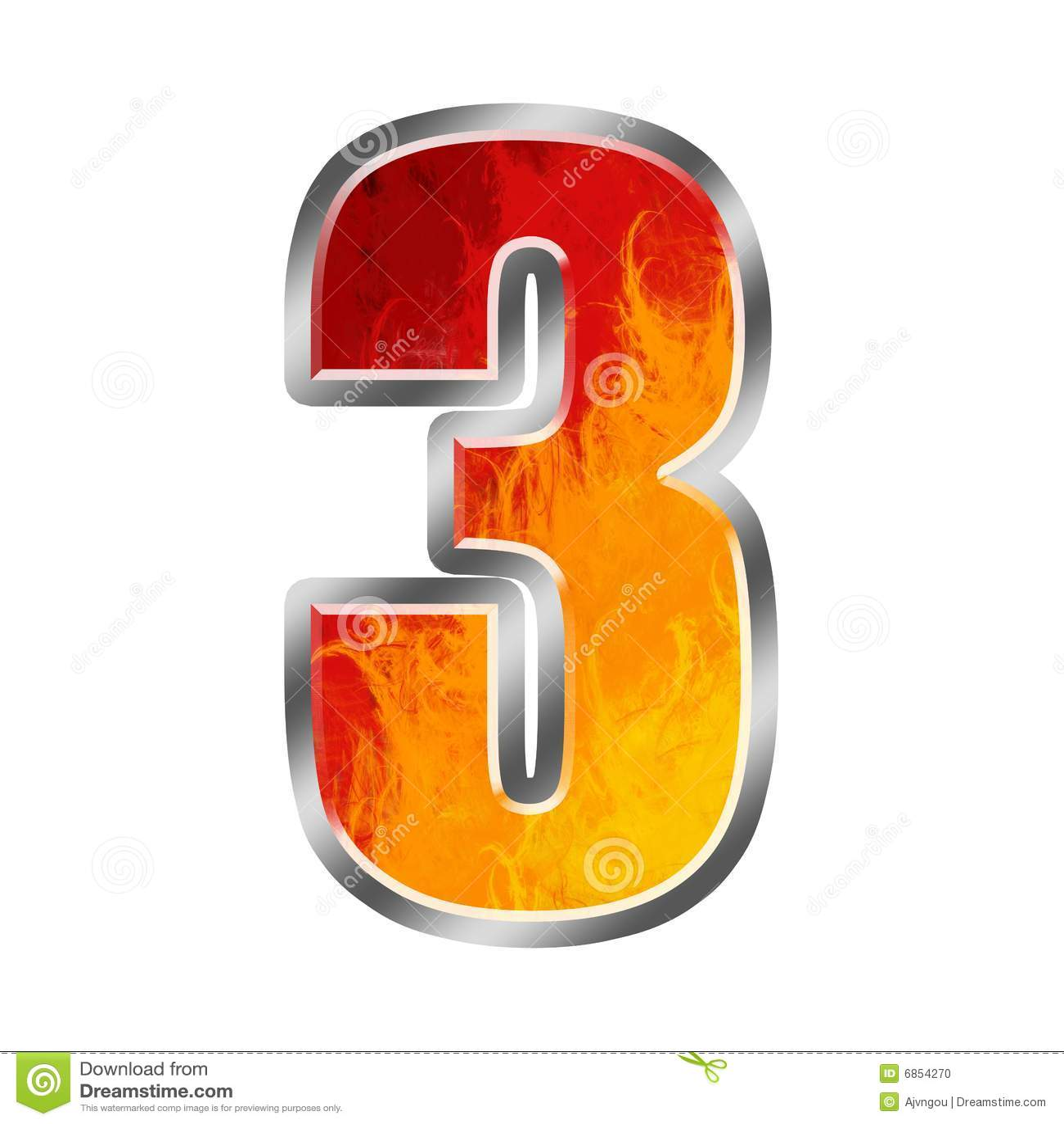 flames alphabet number 3