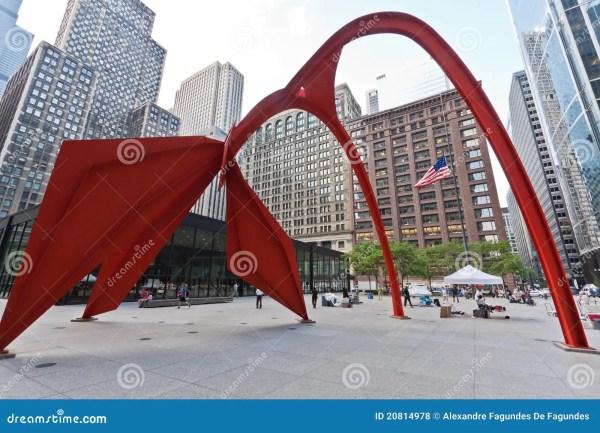 Flamingo Sculpture In Chicago Editorial Stock
