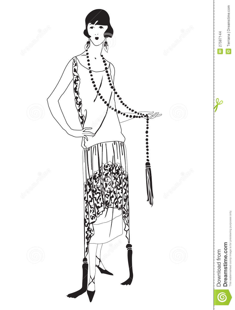 Flapper Girls (20s Style): Retro Fashion Party Stock