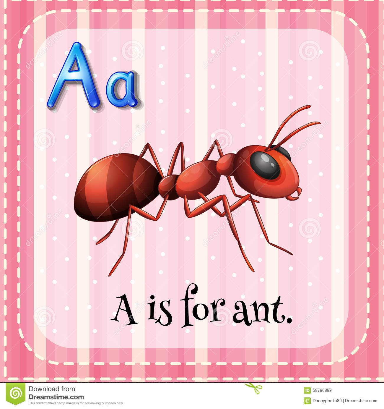 Flashcard A Is For Ant Stock Vector