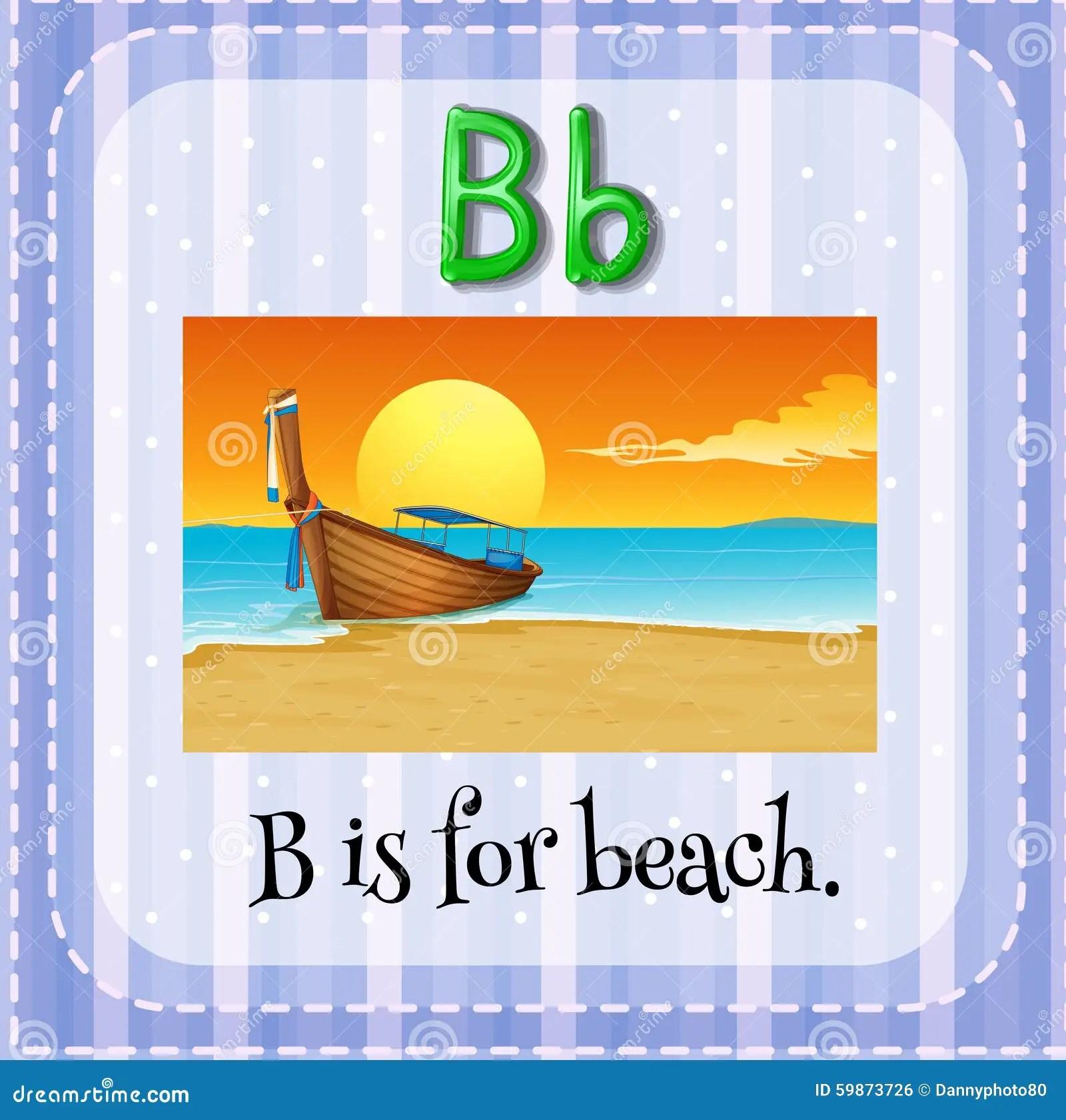 Flashcard Letter B Is For Beach Vector Illustration